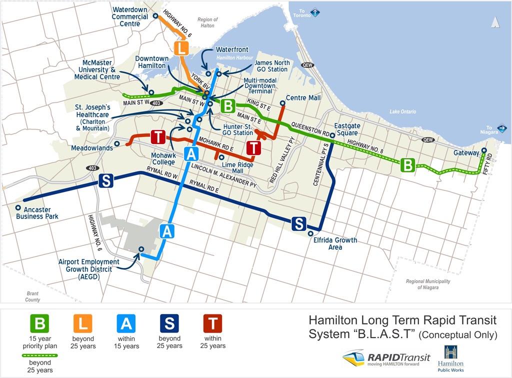 Plán linek BLAST, tedy jednotlivých tras budoucí tramvajové sítě v Hamiltonu. V první etapě má proběhnout výstavba trasy B. (zdroj: www.hamilton.ca)