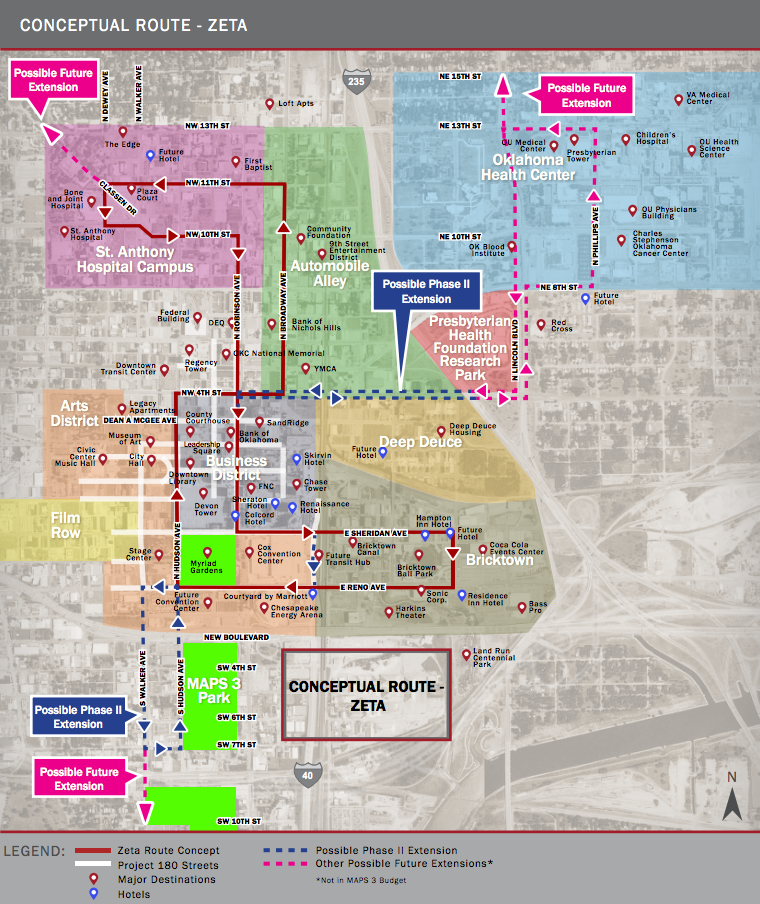 Návrh tramvajové linky v Oklahomě včetně znázornění dalších zvažovaných prodloužení. (zdroj: okc.gov)