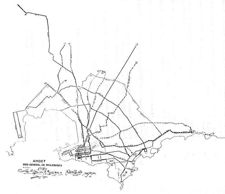 Trolejbusy, množte se! Zřejmě toto si řekli představitelé Amdetu, když na počátku 50. let rýsovali jejich síť. Zobrazená podoba se však nikdy nedočkala 100% naplnění, přesto i 16 zřízených linek mělo poměrně široký záběr. (zdroj: archiv Marcelo Benoit)