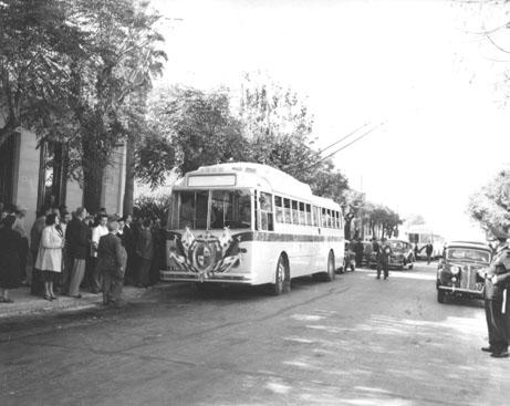 Ze slavnostního zahájení provozu trolejbusů v roce 1951. (zdroj: archiv Marcelo Benoit)