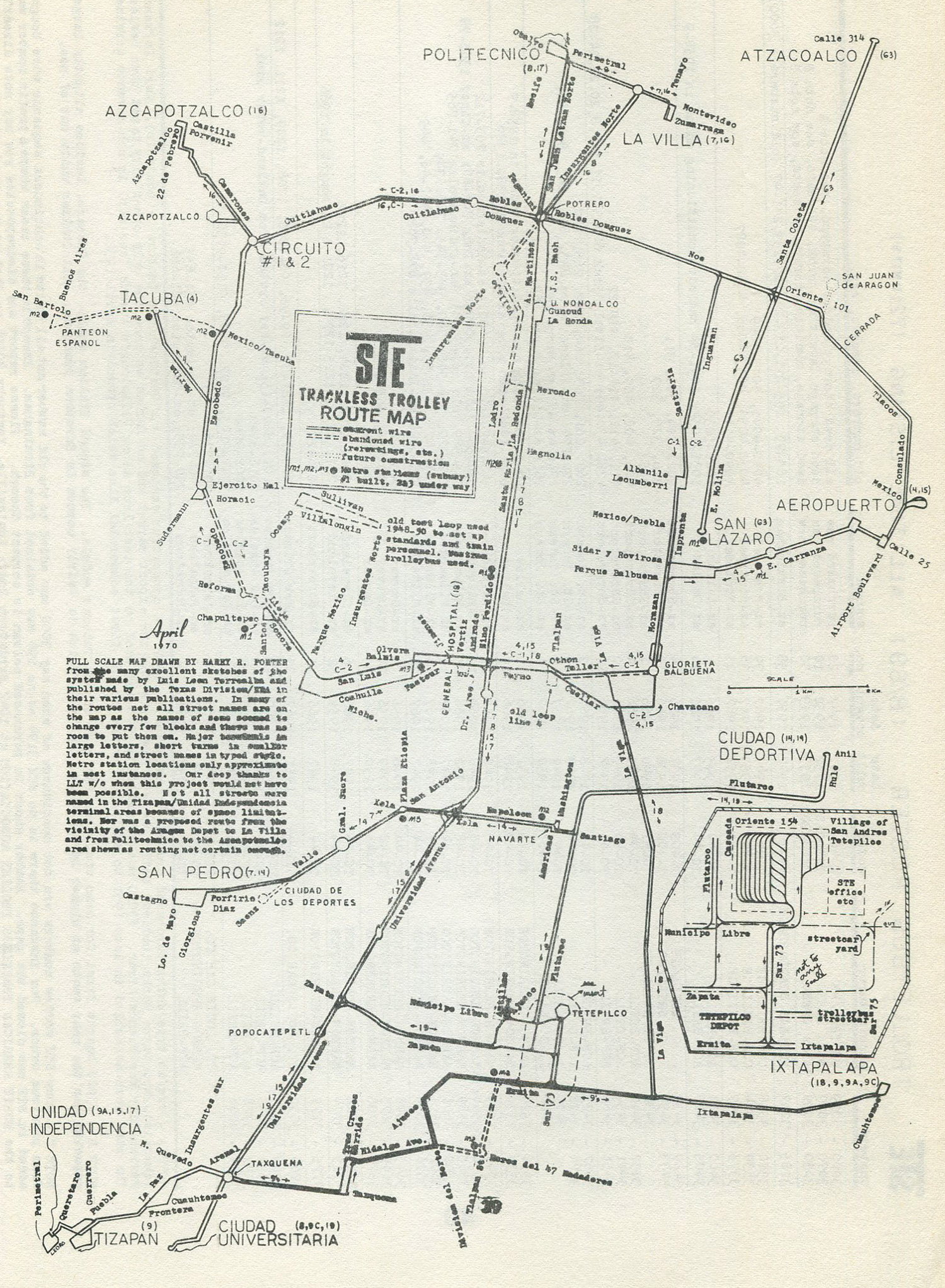 Mapa trolejbusového provozu v Ciudad de México z roku 1970. (zdroj: Transphoto.ru)