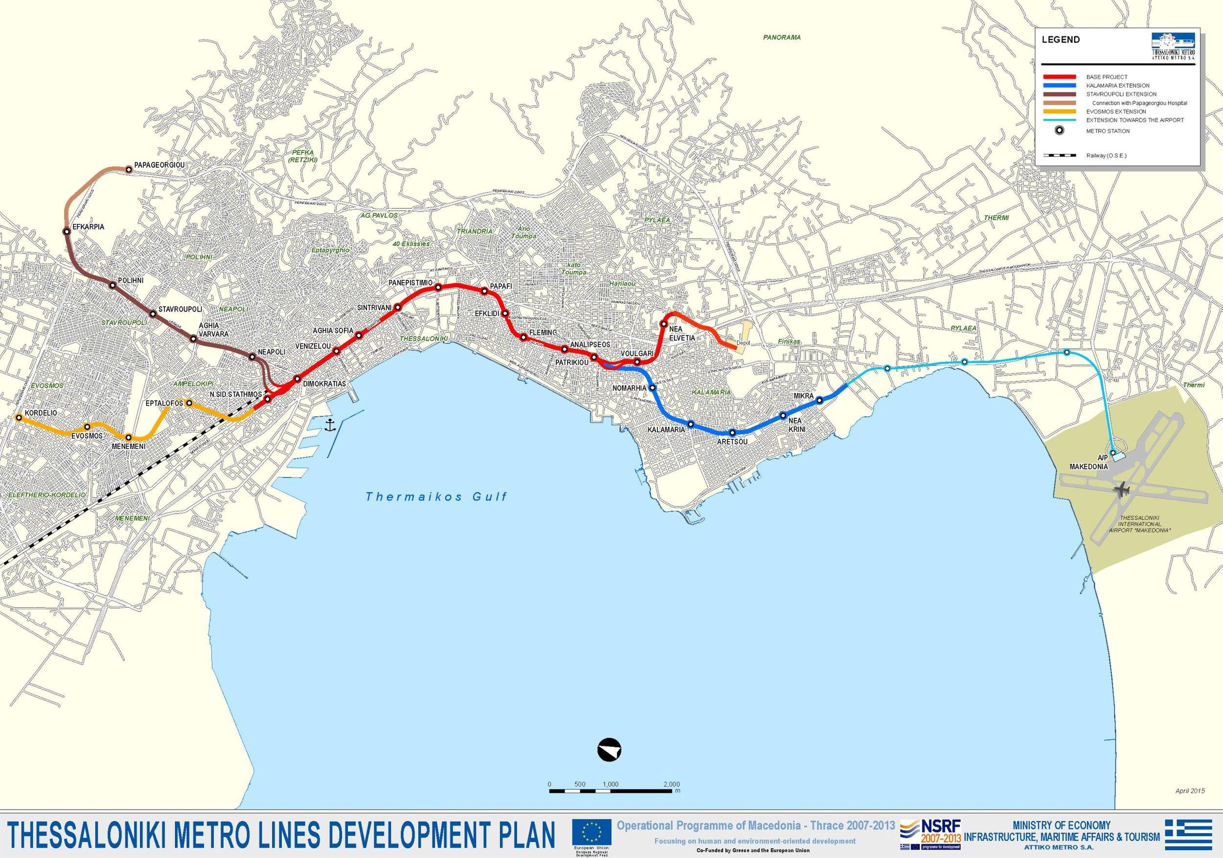 Návrh sítě soluňské podzemní dráhy z počátku tohoto století. Staví se na místě červené a tmavě modré čáry.(zdroj: Evropská komise)