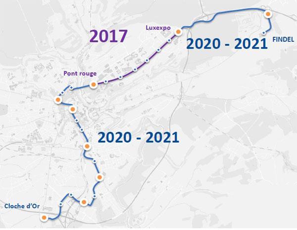 Celá síť tramvají by měla být postupně uvedena do provozu do roku 2021. (zdroj: LUXTRAM)