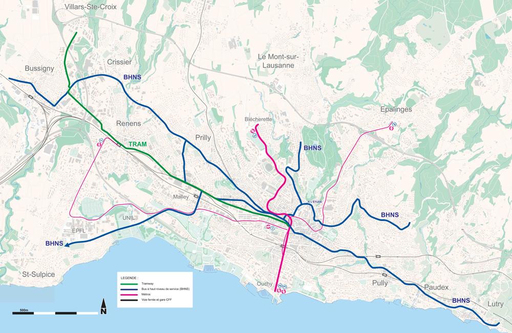 Navrhovaná dopravní síť do roku 2030 dle původního záměru. Momentálně by se měly trolejbusy objevit na modře vyznačených trasách, s výjimkou jihozápadní, o které zatím nejsou zprávy.Ačkoli na původních vizualizacích projektu BRT koridorůfiguroval autobus, poslední oficiální zprávy hovoří o záměru nasadit právě trolejbusy. (zdroj: město Lausanne)