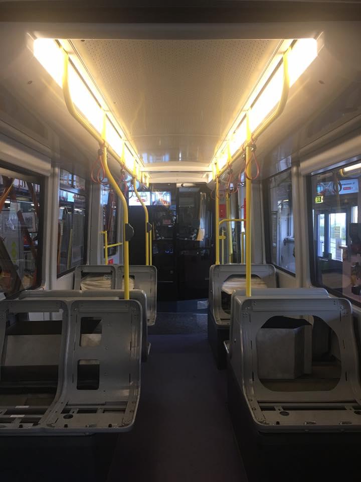 Pohled do rozpracovaného interiéru tramvaje. (foto: Wiener Linien)
