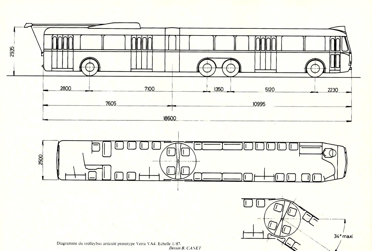 "Výkres trolejbusu VA 4 SR. (autor:Dessin B. Canet / repro z knihy ""Les trolleybus français"")"