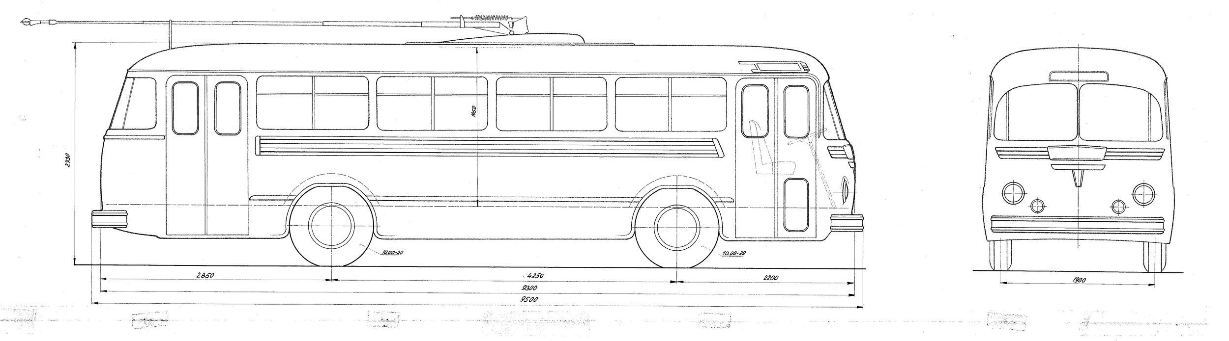 Návrh trolejbusu od Karosy z roku 1950. (zdroj: archiv Iveco Czech Republic)