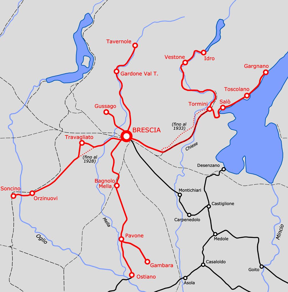 Síť meziměstských tramvají vycházejících z Brescie na plánku dokumentující stav z roku 1933 (před začátkem rušení sítě). (zdroj: Wikipedia.org)