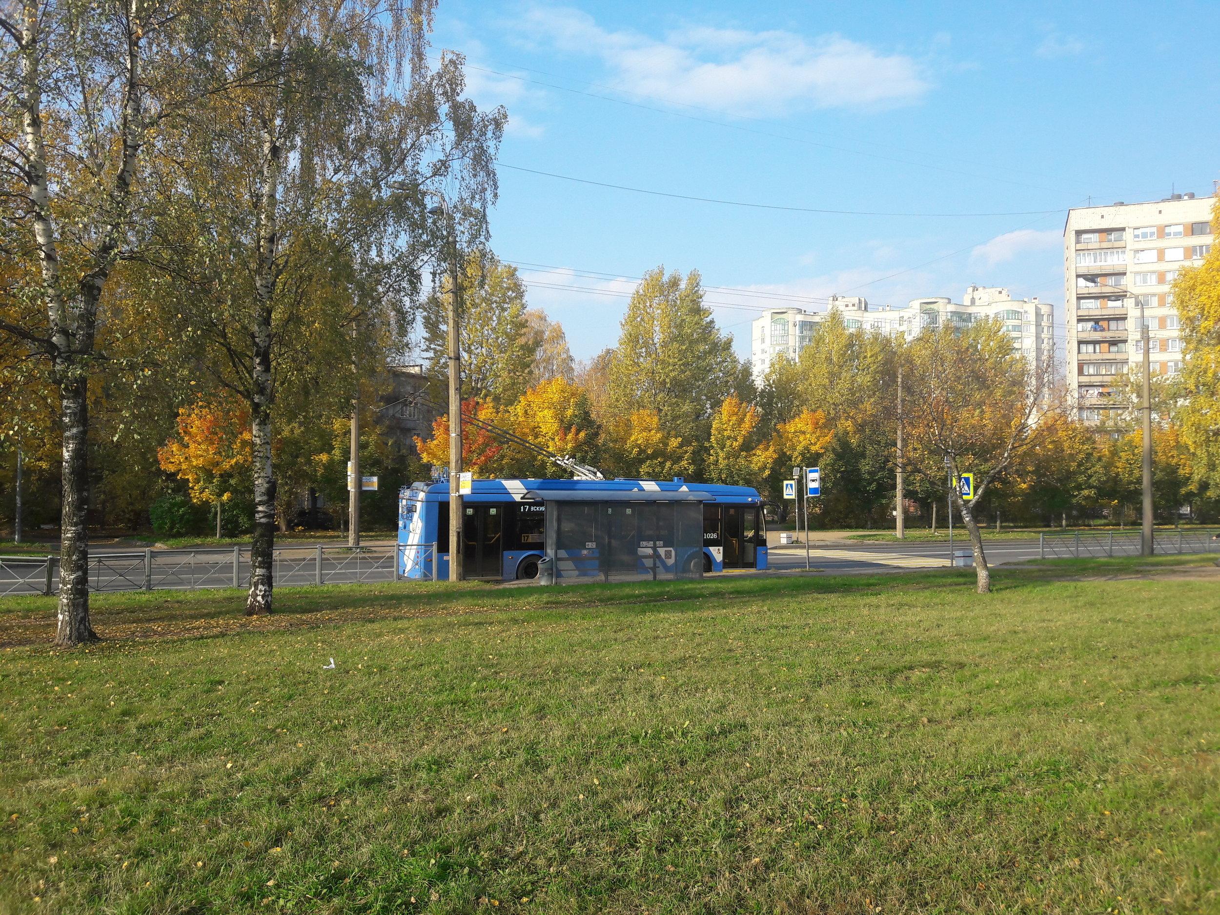 Ulice Varšavskaja, opět linka č. 17, tentokrát úplně na jihu města.