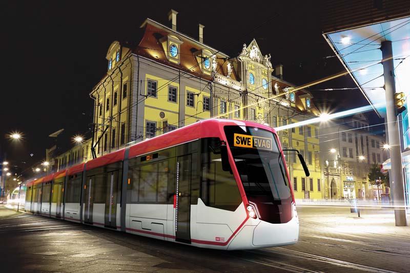 Takto by měly nové tramvaje pro Erfurt z rodiny Tramlink vypadat. (foto: EVAG)