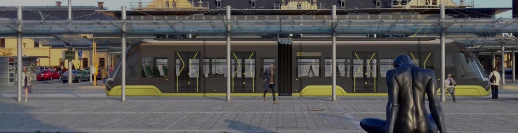 """Ostravská firma uvádí, že je její tramvaj možné vyhotovit v tří-, pěti-, nebo sedmidveřové verzi. Na svém webu se ovšem pochlubila i tímto sympatickým dvoučlánkovým """"vajíčkem"""", které ale není modelem C-05. (vizualizace: TRAM FOR ENVI s.r.o.)"""