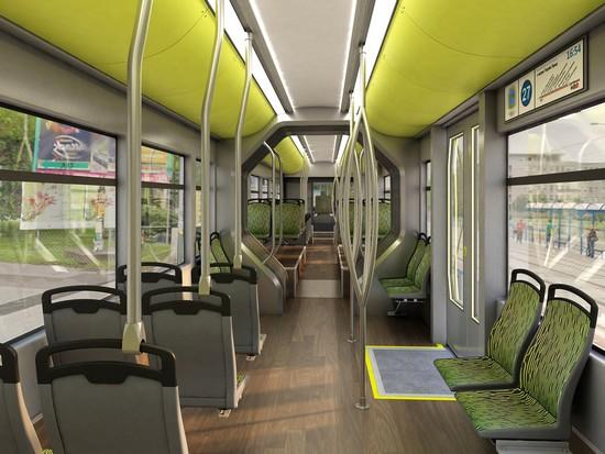 Interiér dvoučlánkové tramvaje. (vizualizace: TRAM FOR ENVI s.r.o.)