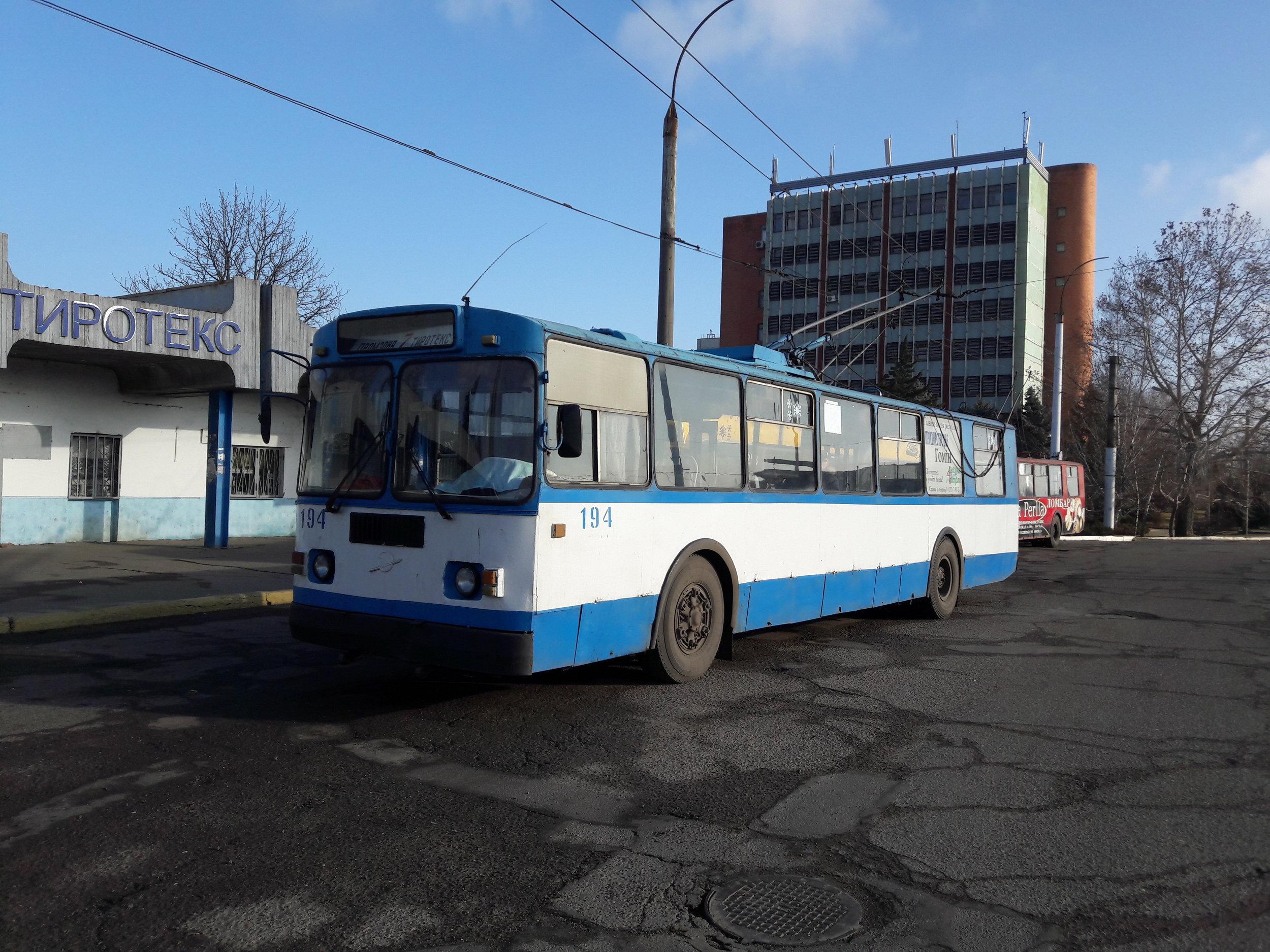 Vůz ZiU na severovýchodní tiraspolské konečné Tiroteks dne 31. 12. 2018.