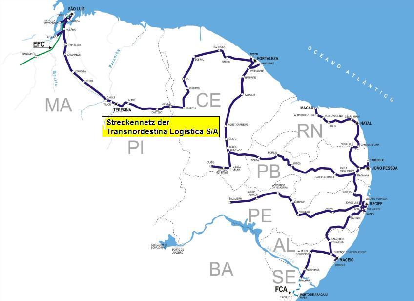 Systém drah o rozchodu 1 000 mm v severovýchodním cípu Brazílie (zdroj: Wikipedia)