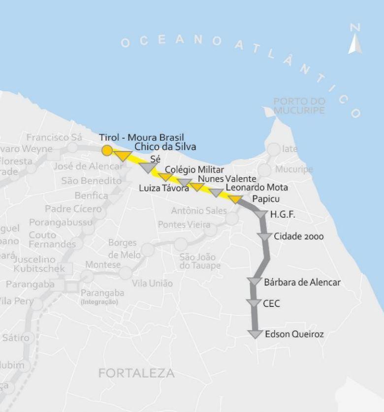 Plánek východní (žluté linky) fortalezského metra. Trojúhleníky vyznačují podzemní stanice, puntík povrchovou stanici. Žlutě je zaznačena první fáze, šedě druhá fáze výstavby. (zdroj: Governo do Estado do Ceará)