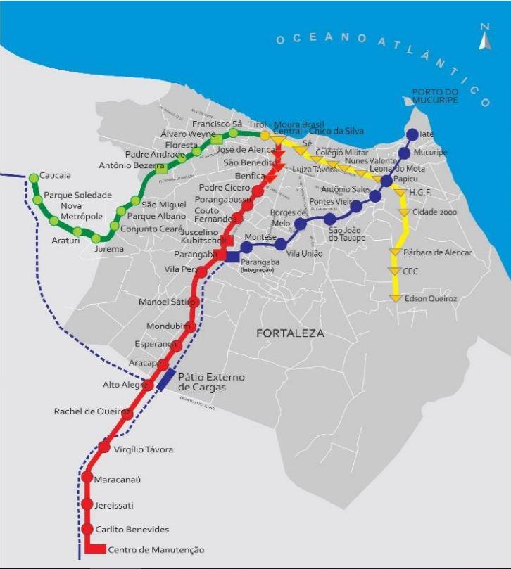 Cílový stav fortalezského metra. Puntíky značí povrchovou stanici, čtverečky nadzemní, trojúhelníky podzemní. Na červené lince chybí dostavět stanici Padre Cícero, na lince VLT stanice Micuripe a Iate, žlutá linka se teprve staví. (zdroj: Governo do Estado do Ceará)