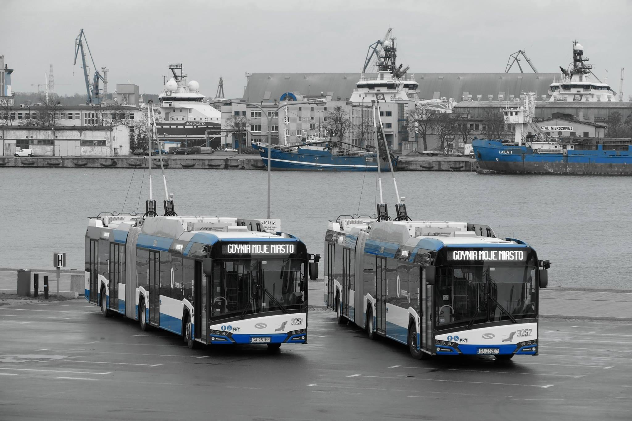 Ještě jeden pohled na nové trolejbusy v přístavu. (foto: ZKM Gdynia)