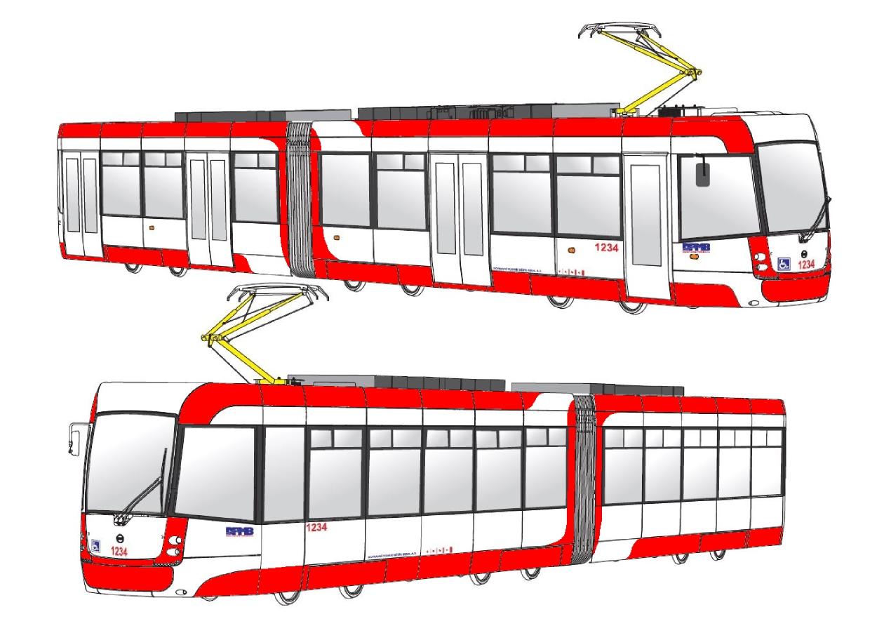 """Návrh číslo 1 pro barevné řešení tramvají EVO2 (""""Tramvaje pro Brno""""). (foto: DPMB)"""