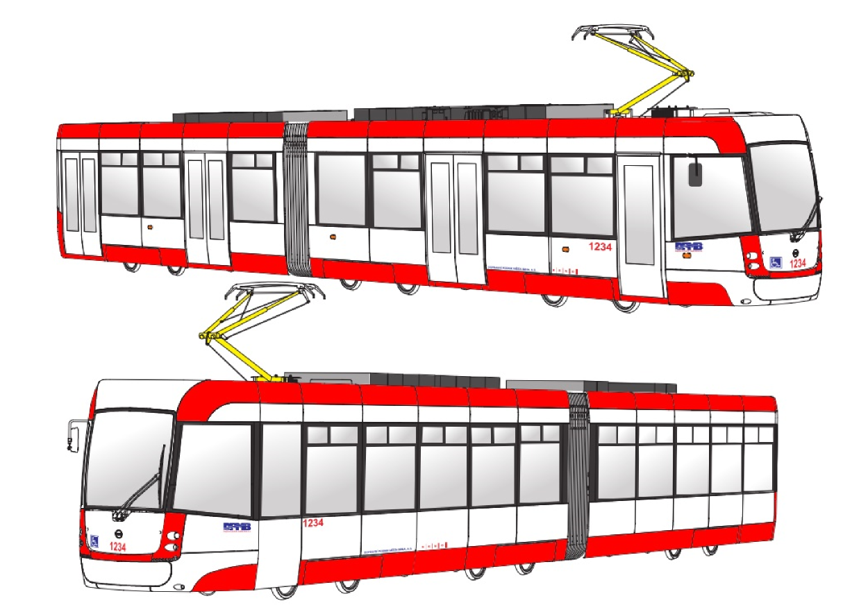 """Návrh číslo 2 pro barevné řešení tramvají EVO2 (""""Tramvaje pro Brno""""). (foto: DPMB)"""