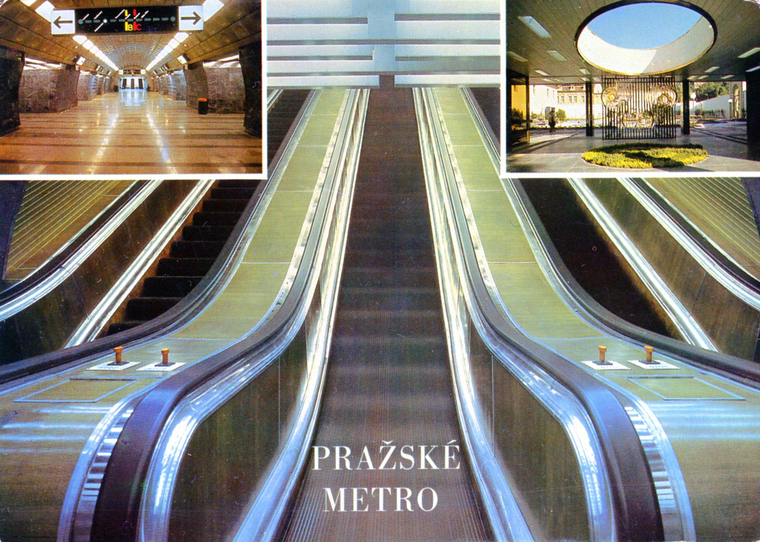 Pražské metro bylo oblíbeným symbolem pohlednic. Nezřídka se na nich ale neprezentovaly vlaky metra, ale právě moderní stanice a umělecké prvky. (sbírka: Libor Hinčica)
