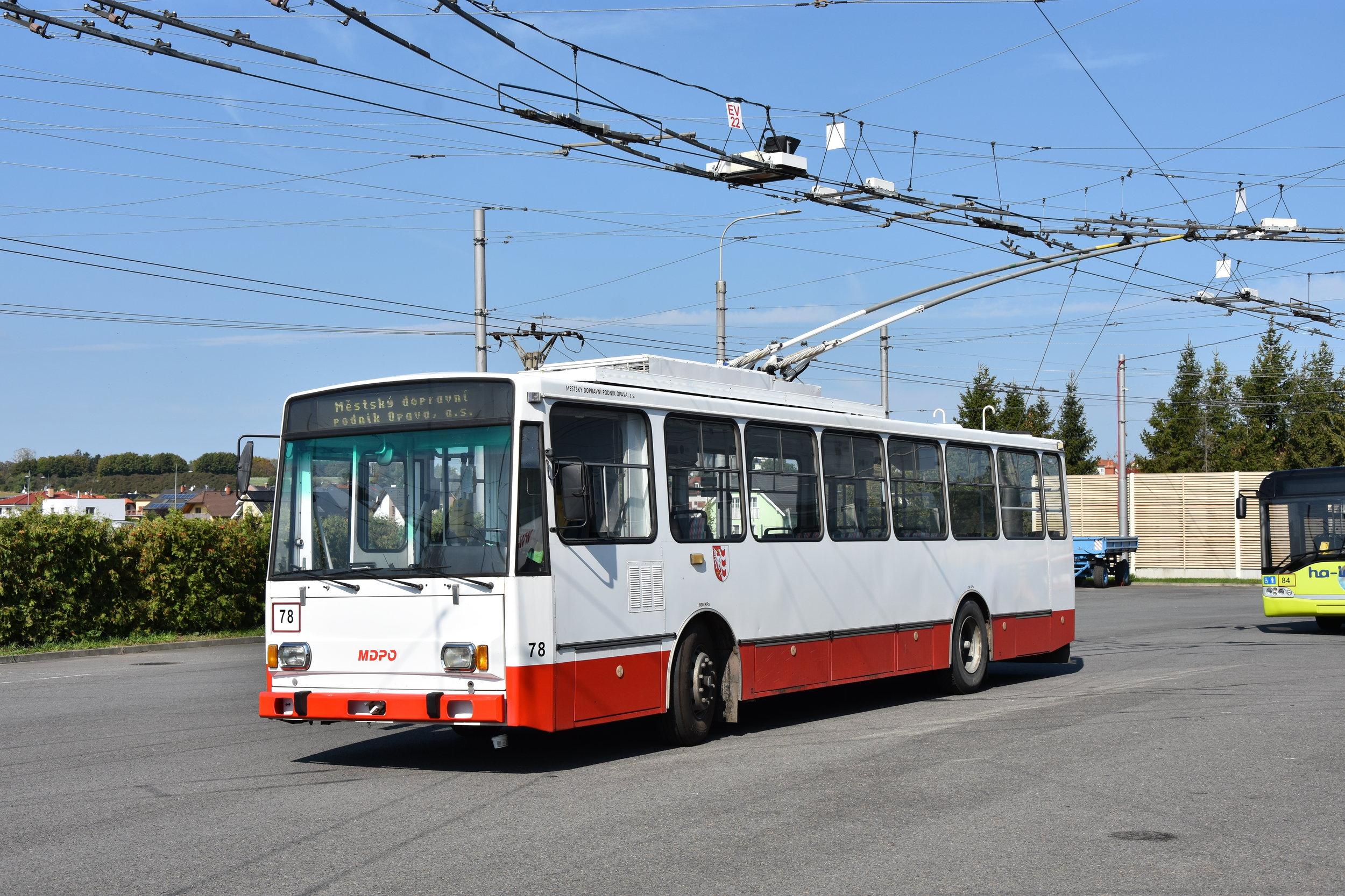 Trolejbus Škoda 14 TrM ev. č. 78 v září 2018 v Opavě. (foto: Libor Hinčica)