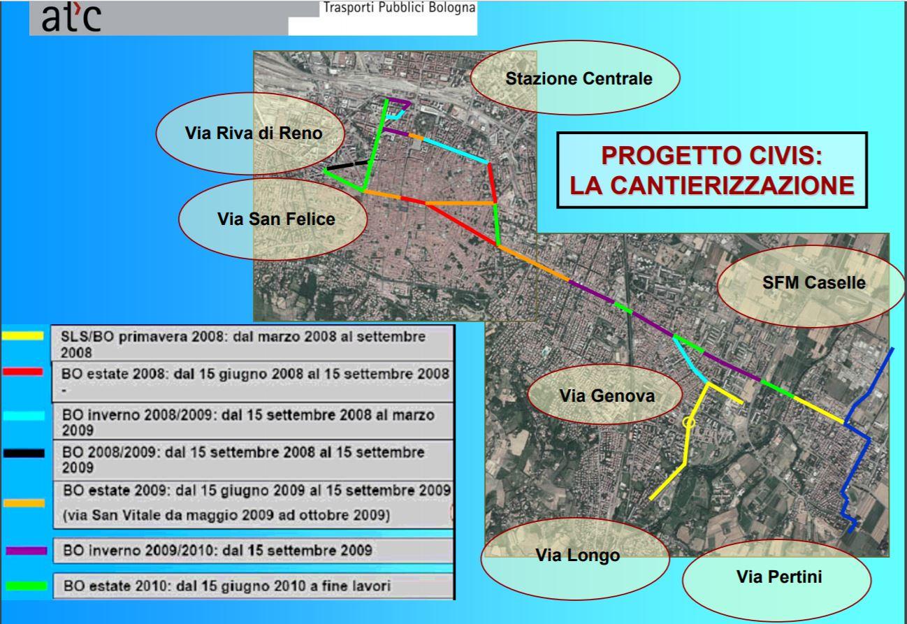 Rozsah nové sítě budované pouze pro Civisy, kde se 10. dubna 2019 poprvé začaly zkoušet Crealisy Neo. (zdroj: společná prezentace Regione Emilia Regione, Provincia di Bologna, Bologna Comune, Comune di San Lazzaro a ATC S.p.A.; 7. 1. 2008)