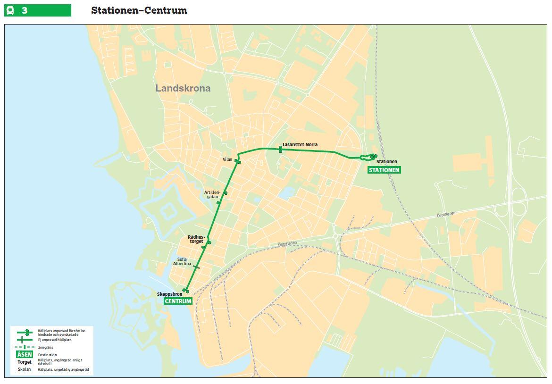 Detail trolejbusové trati. Železniční trať k centru města nadále vede, je ovšem využívána výhradně nákladními vlaky. (zdroj: Skånetrafiken)