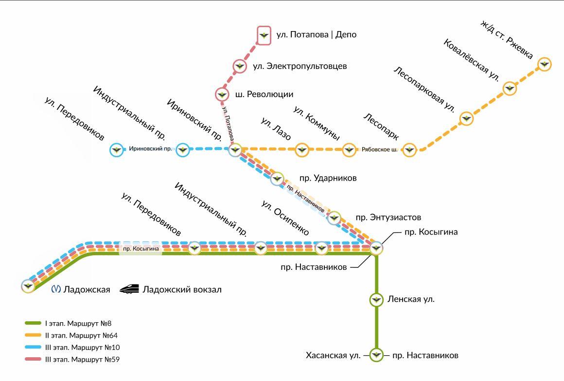 Mapka projektu Čižik. Vozovna je v nejvyšším bodě plánku. Momentálně se pracuje na úseku ul. Pěredovikov – ž./d. st. Rževka, s větví k vozovně, a také se dokončuje zcela nový úsek od Ladožského nádraží k Novočerkasskomu prospektu (na mapce nevyznačeno, dále od nejzápadnějšího bodu zhruba 1 km). (zdroj: TKK)