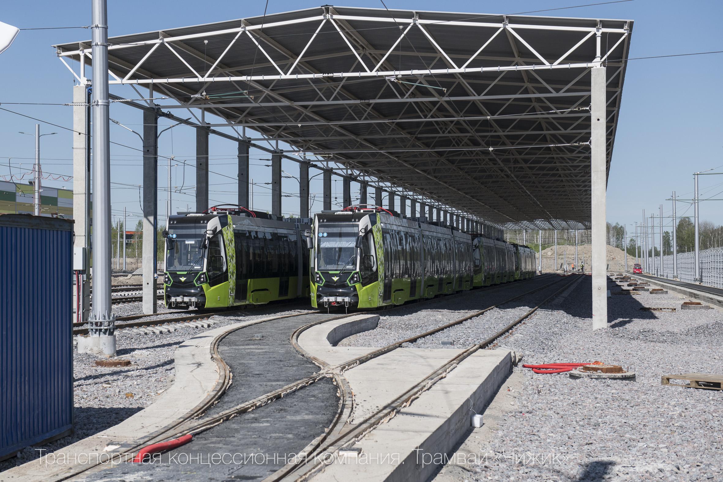 Areál vozovny v druhé polovině května 2019.