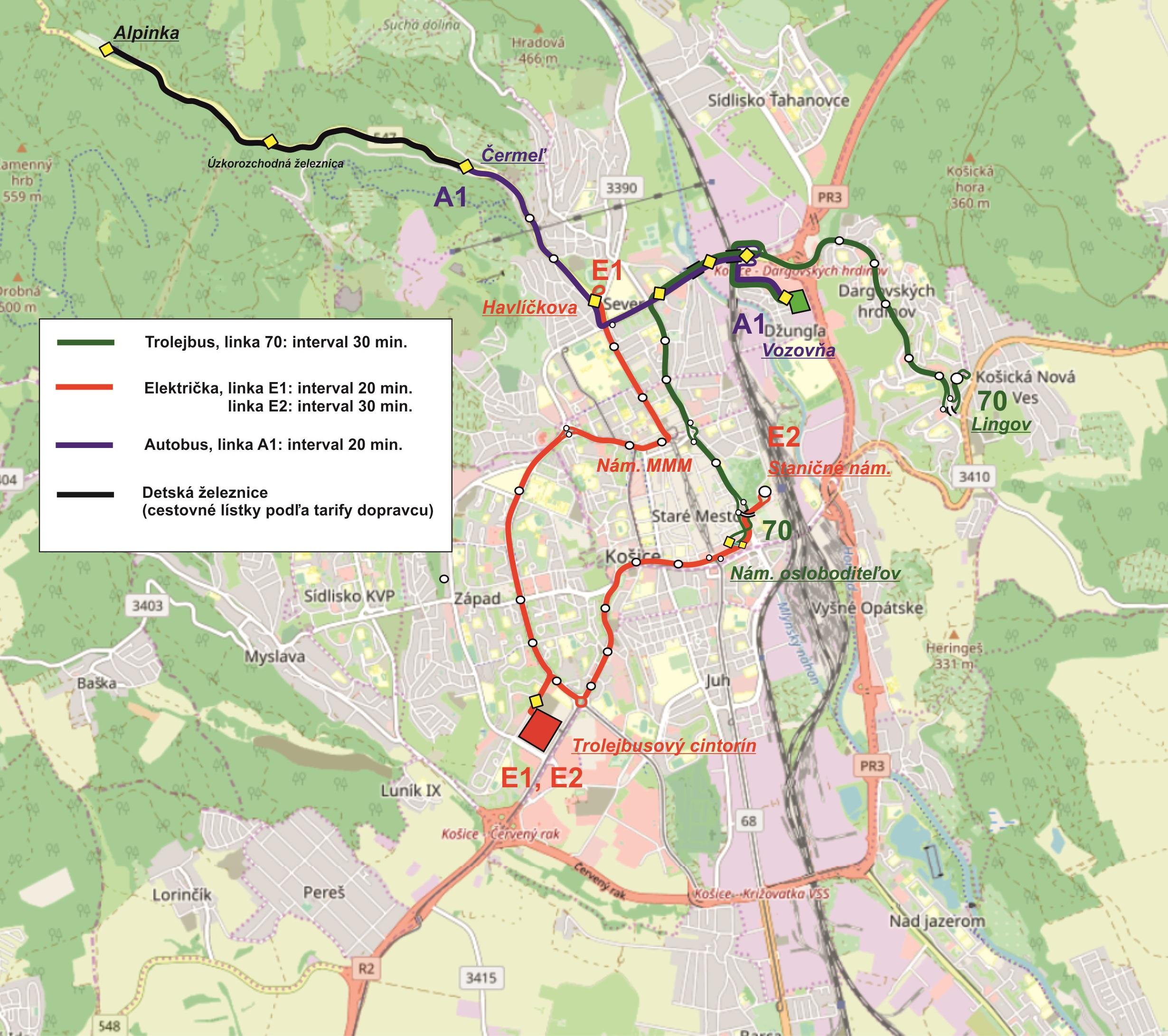 Trasy zvláštních linek dne 22. 6. 2019. (zpracoval: Petr Bystroń)