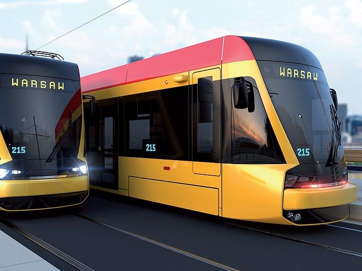 Nové tramvaje pro Varšavu na vizualizaci výrobce. (zdroj: Hyundai Rotem)
