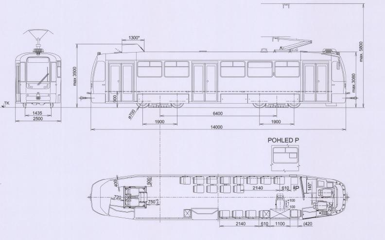 Vzhled vozidla s navrženou nástavbou a upraveným interiérem. Zaslepení dveří není na výkresu zakresleno. (zdroj: DPO)