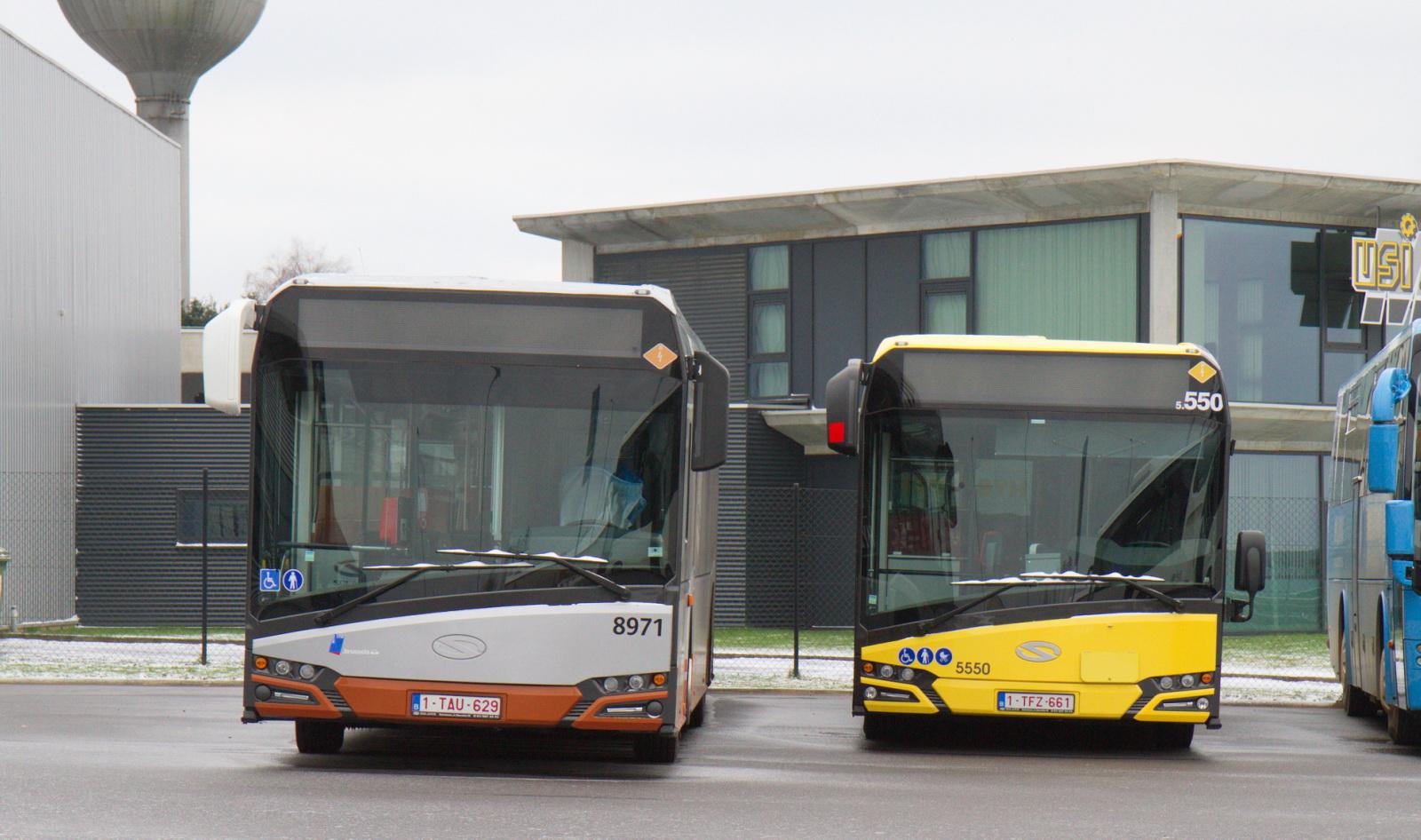 Dvojice autobusů Solaris ve službách belgických dopravců STIB (hybrid vlevo) a SRWT. (foto: Jean Philippe Dheure)
