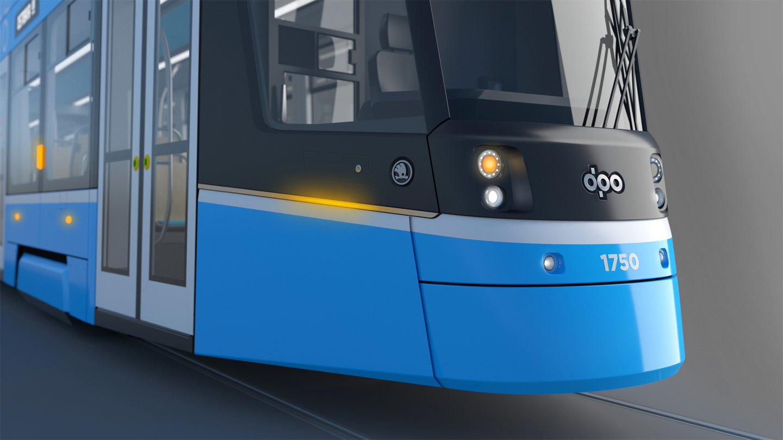 Detail čela nové ostravské tramvaje. (zdroj: DPO)