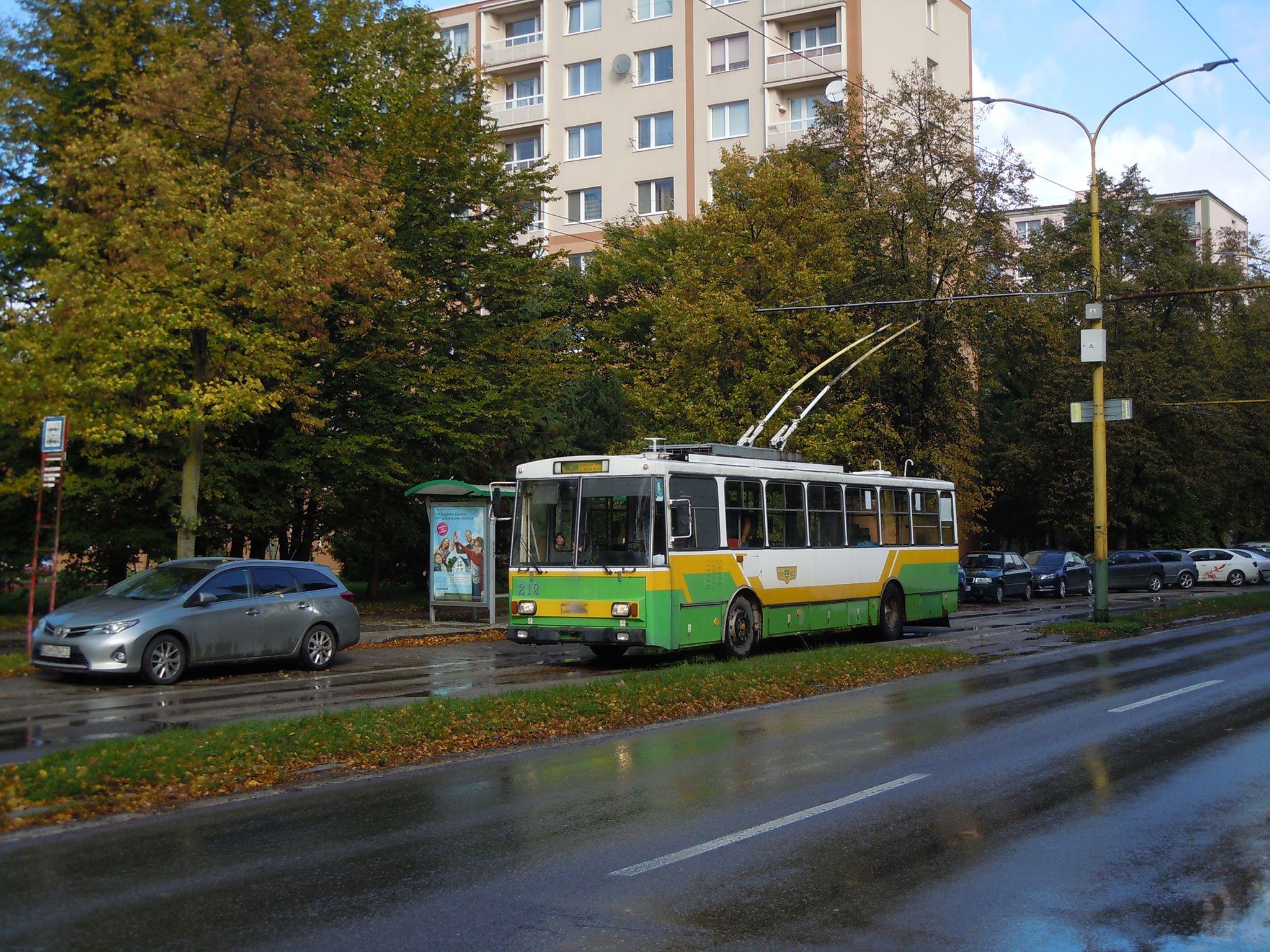 Trolejbus Škoda 14 Tr ev. č. 219 v Žilině při zvláštní jízdě pro fanoušky dopravy. (foto: Josef Pernica)