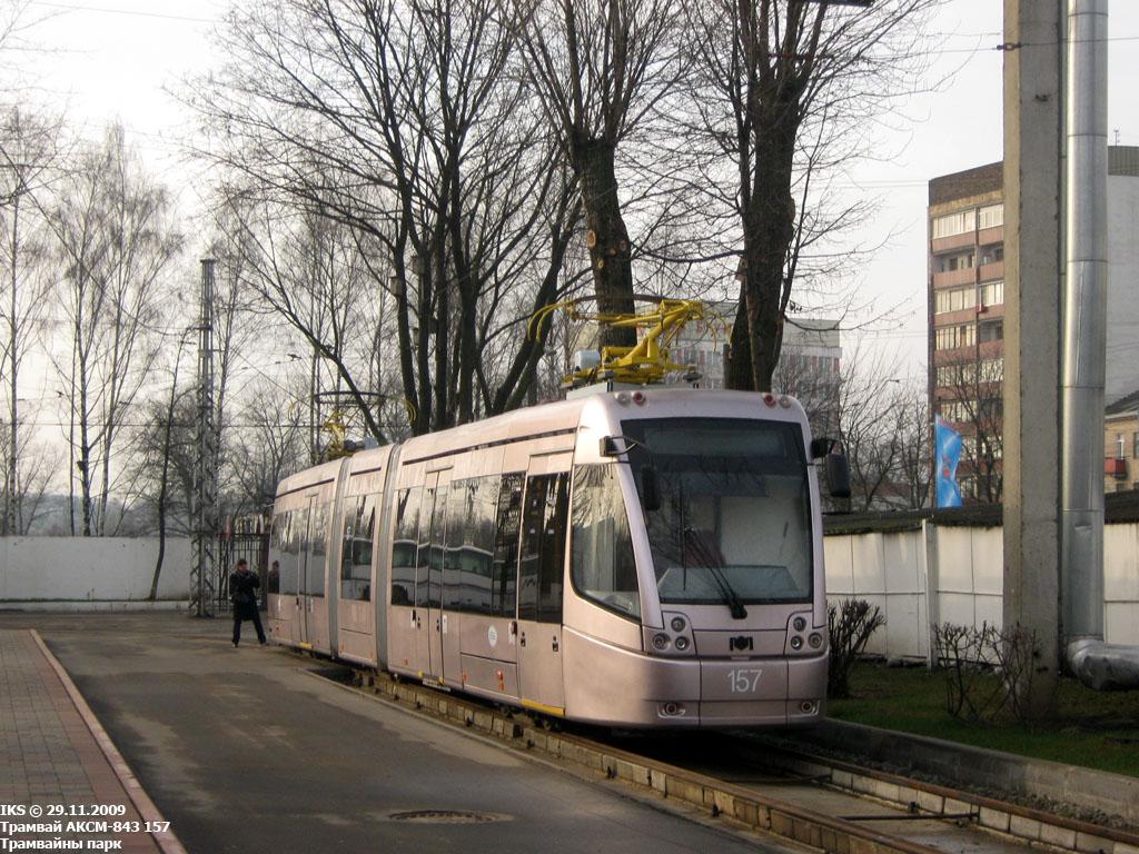 Vůz AKSM-84300M ev. č. 157 v roce 2009. (foto: Vladimir Fišman)  Vlevo: aktuální stav tramvajové sítě v Minsku. (autor: Robert Schwandl/UrbanRail.net)