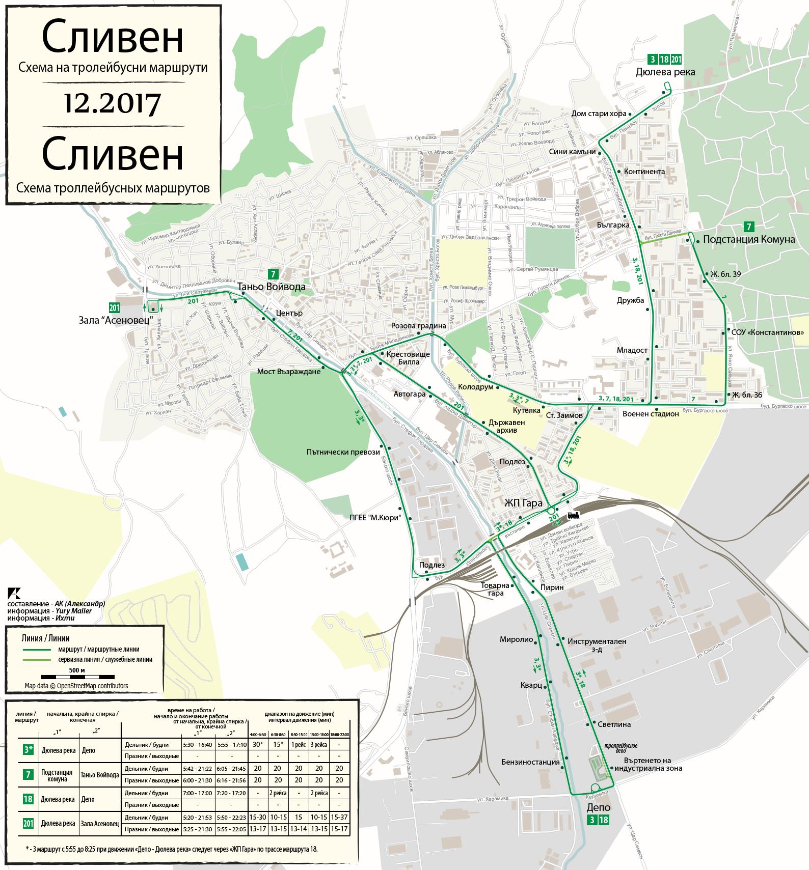Stav sítě v roce 2017. Dnes je v provozu pouze linka č. 201, většinově operovaná autobusy SOR EBN 10.5. (autor: Alexandr Klišin)