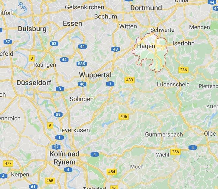Město Hagen na mapě. (zdroj: Google Maps)