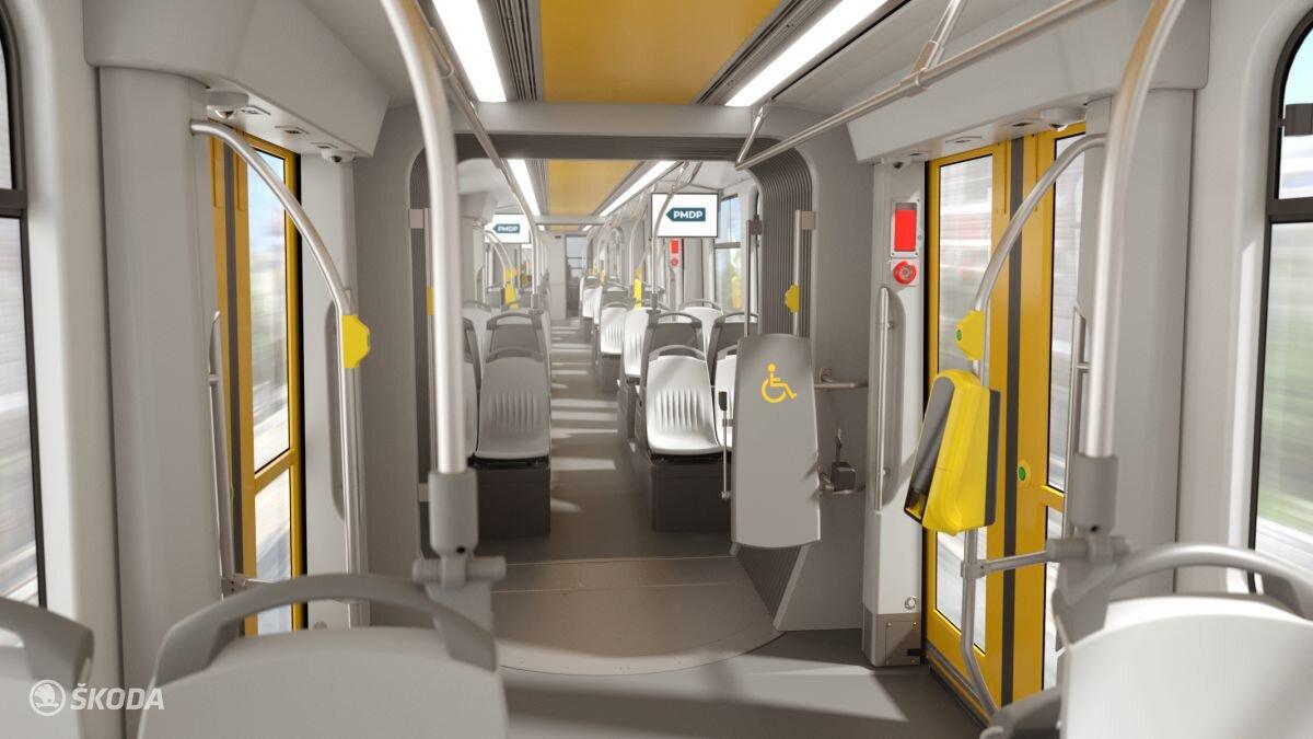 Interiér plzeňské tramvaje Škoda 40T na propagační vizualizaci výrobce. Do Plzně by mělo být dodáno až 22 těchto vozidel. (foto: Škoda Transportation)