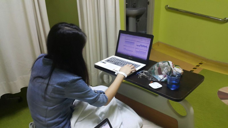 One of our teammates working while in hospital today (we told her not to).