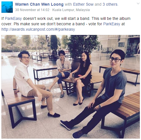 We're nominated on Asia tech portal Vulcan Post for 'Most Promising Startup 2015'. Vote for us! (Psst..don't let Singaporeans win :P ). http://awards.vulcanpost.com/#/parkeasy