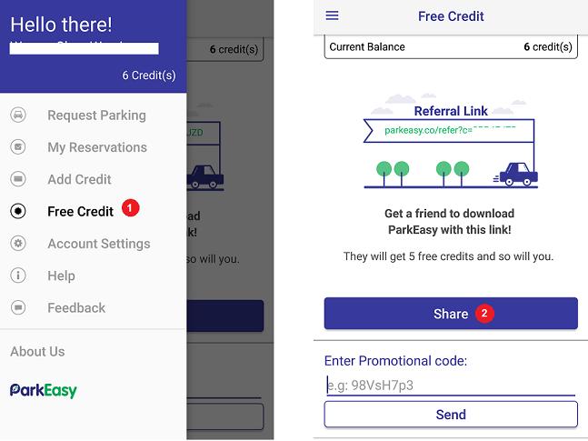 Step 1: tap 'free credit' in app menu  |  step 2: tap 'share'