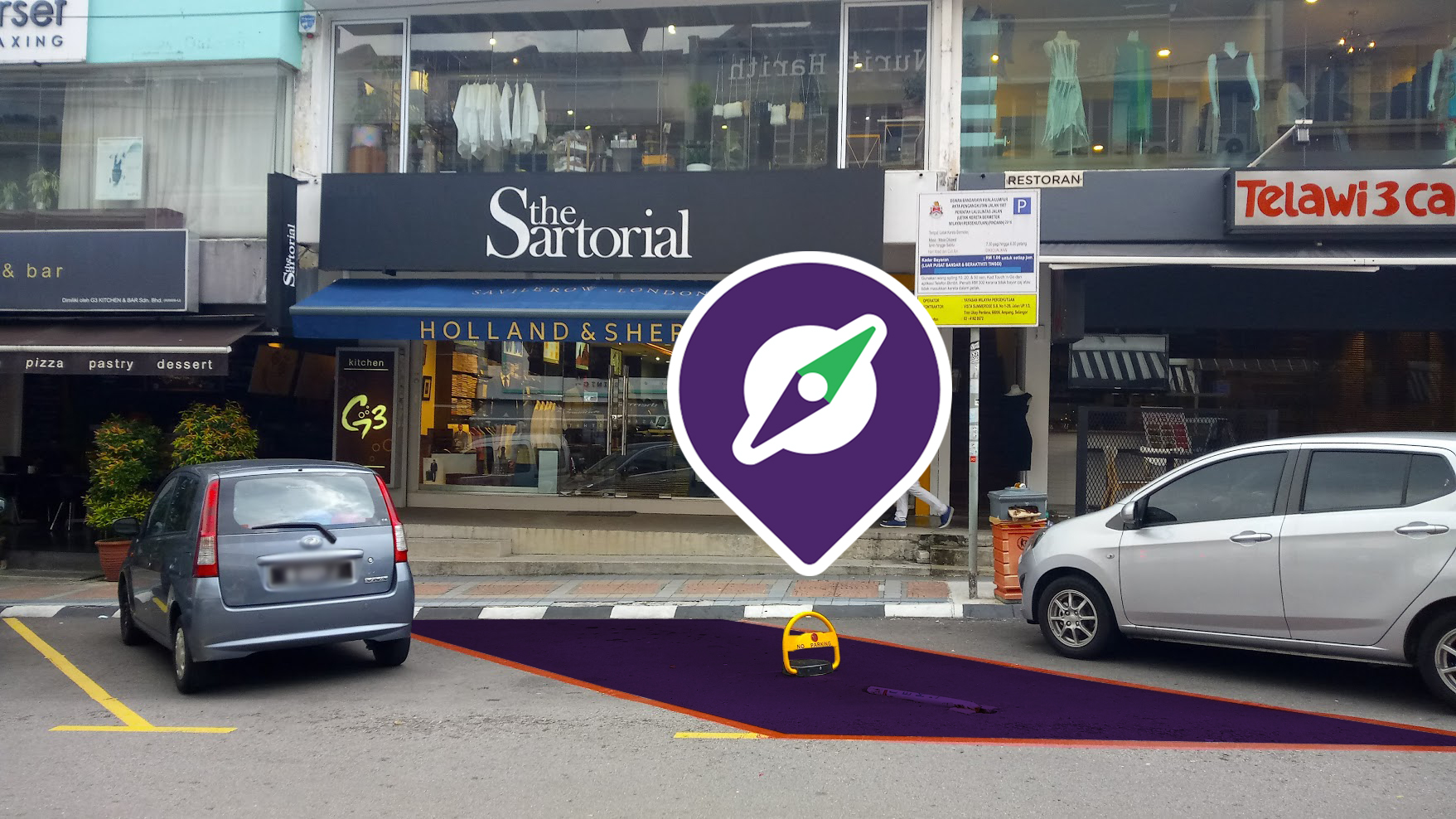 Outside view of the new parking space (please note that the floor is not actually painted purple)