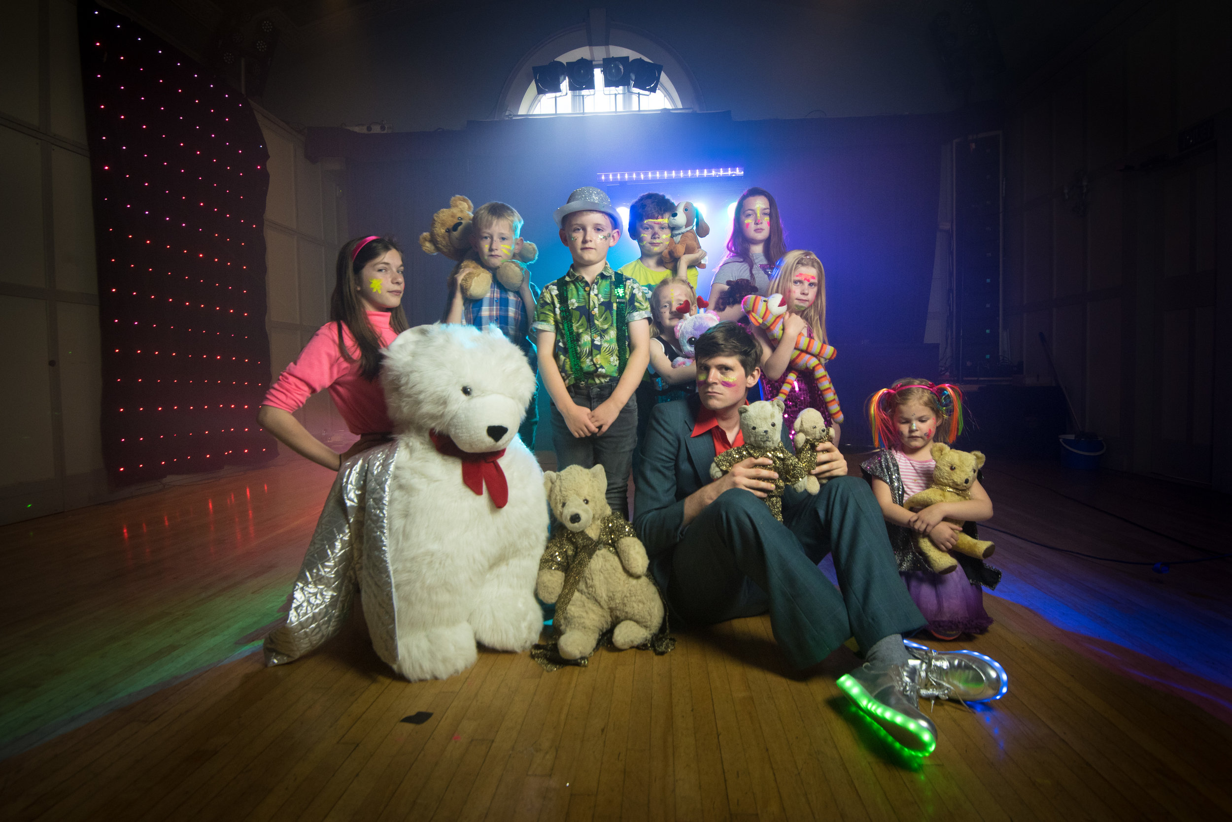 Making serious disco faces with my teddy bear crew.