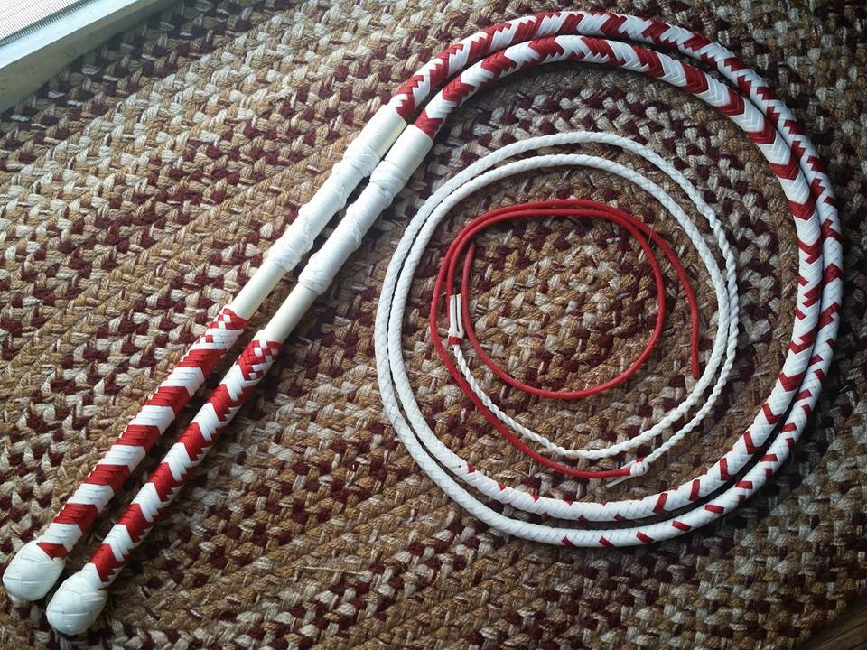 "Pair of nice nylon paracord ""Performance Hybrid"" whips, a cross between a stock whip and a cow whip , light, fast and much fun."