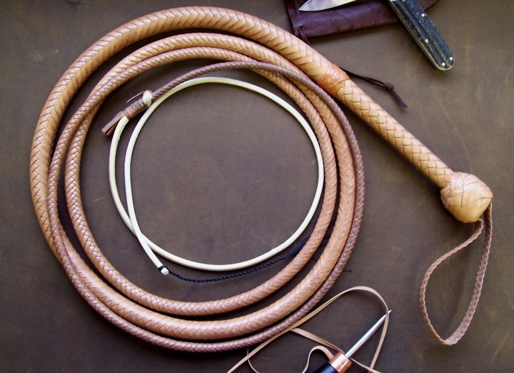 Indiana Jones style leather bull whip