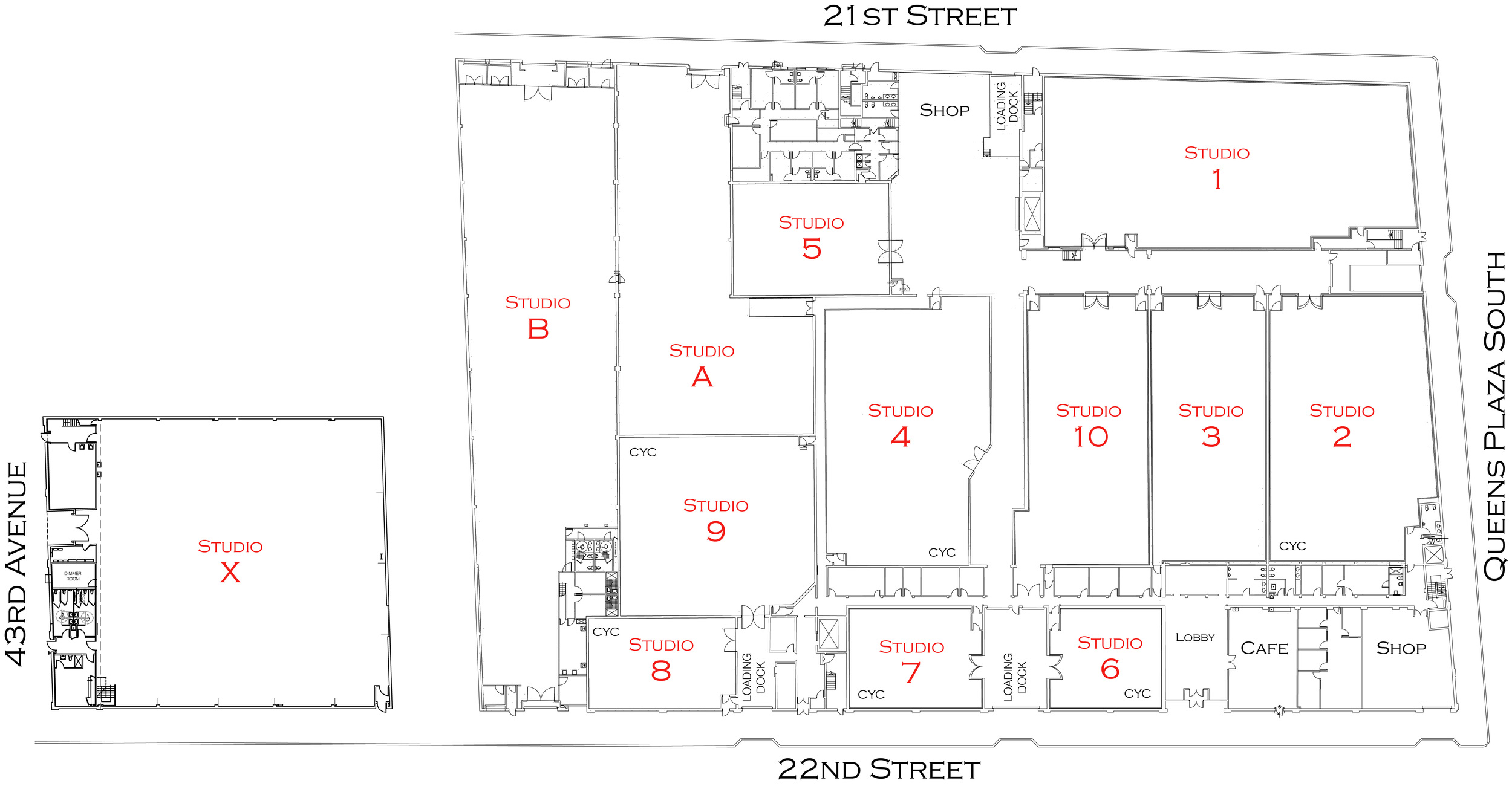 Silvercup Main Lot Floorplan:  *All information is subject to change. Silvercup Studios is not responsible for any errors or omissions.
