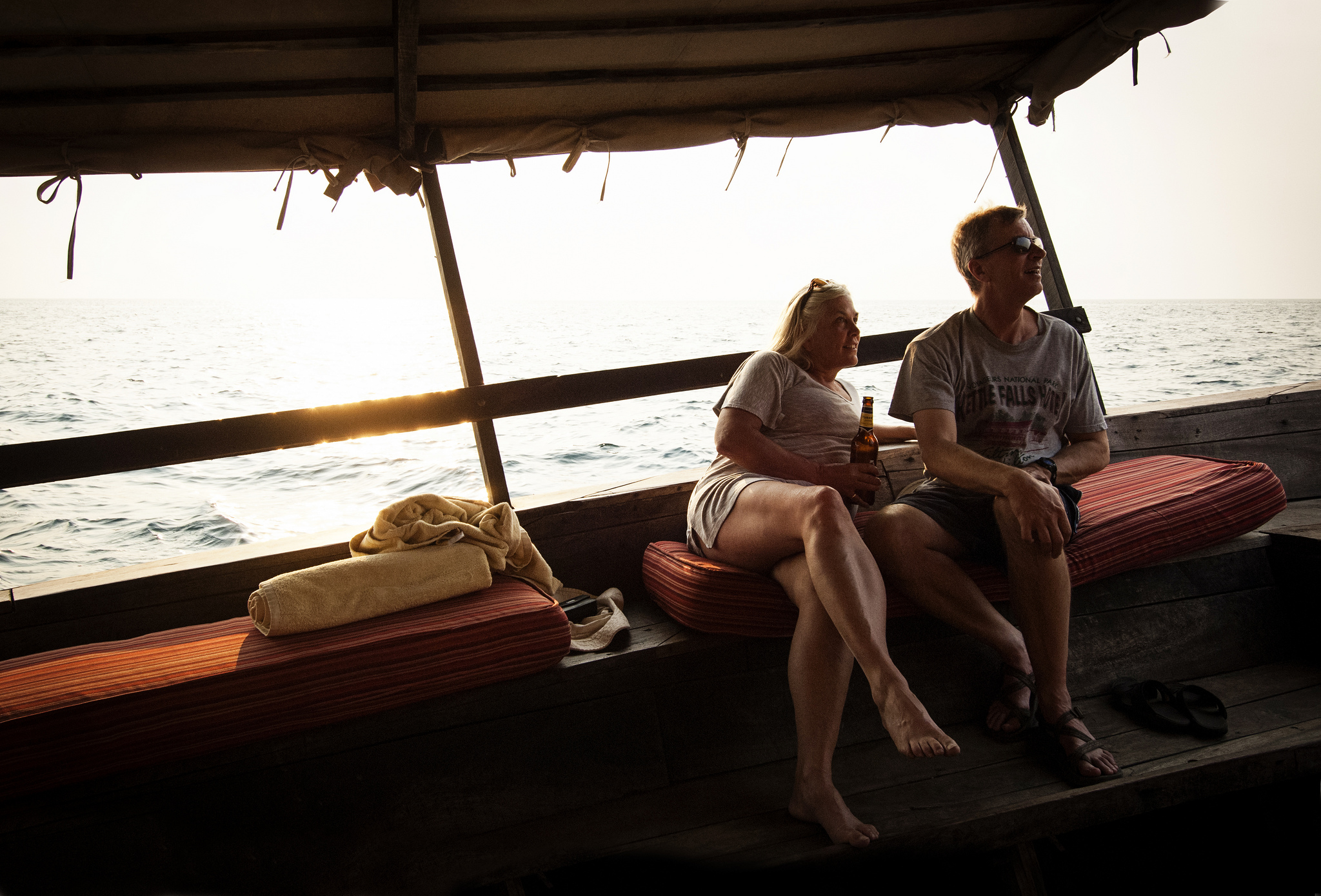 Sunset cruise on Lake Tanganyika on our dhow fully stocked with drinks and snacks.