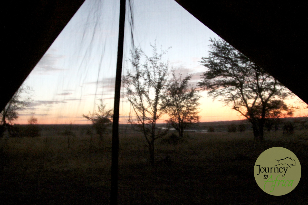Sunrise over Olakira Camp in Northern Serengeti where they are located from June to November.