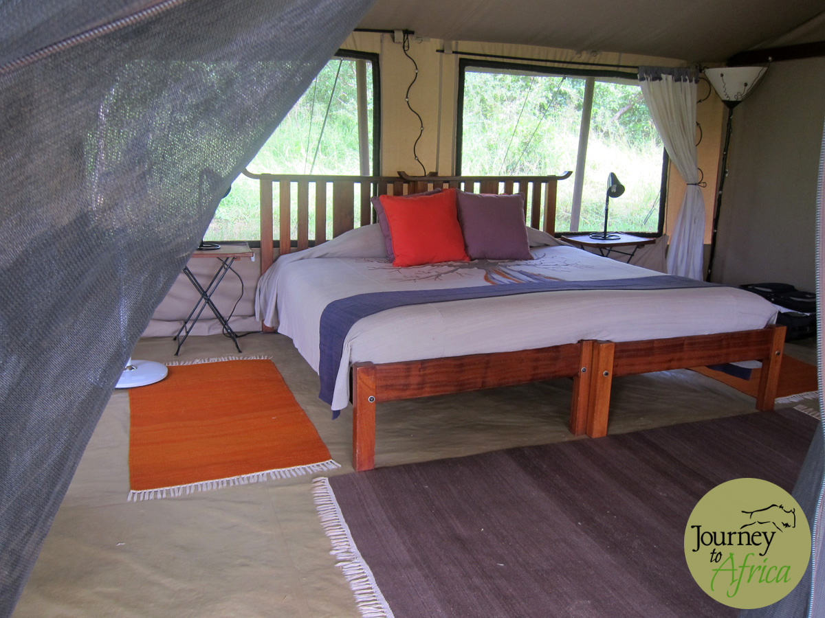 The large roomy tent with attached bathroom on the side.